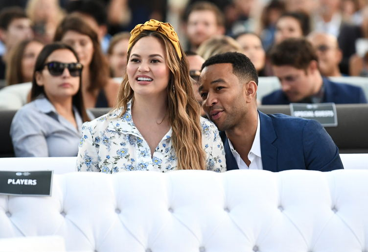 Chrissy Teigen and John Legend attend the Fourth Annual Los Angeles Dodgers Foundation Blue Diamond Gala at Dodger Stadium