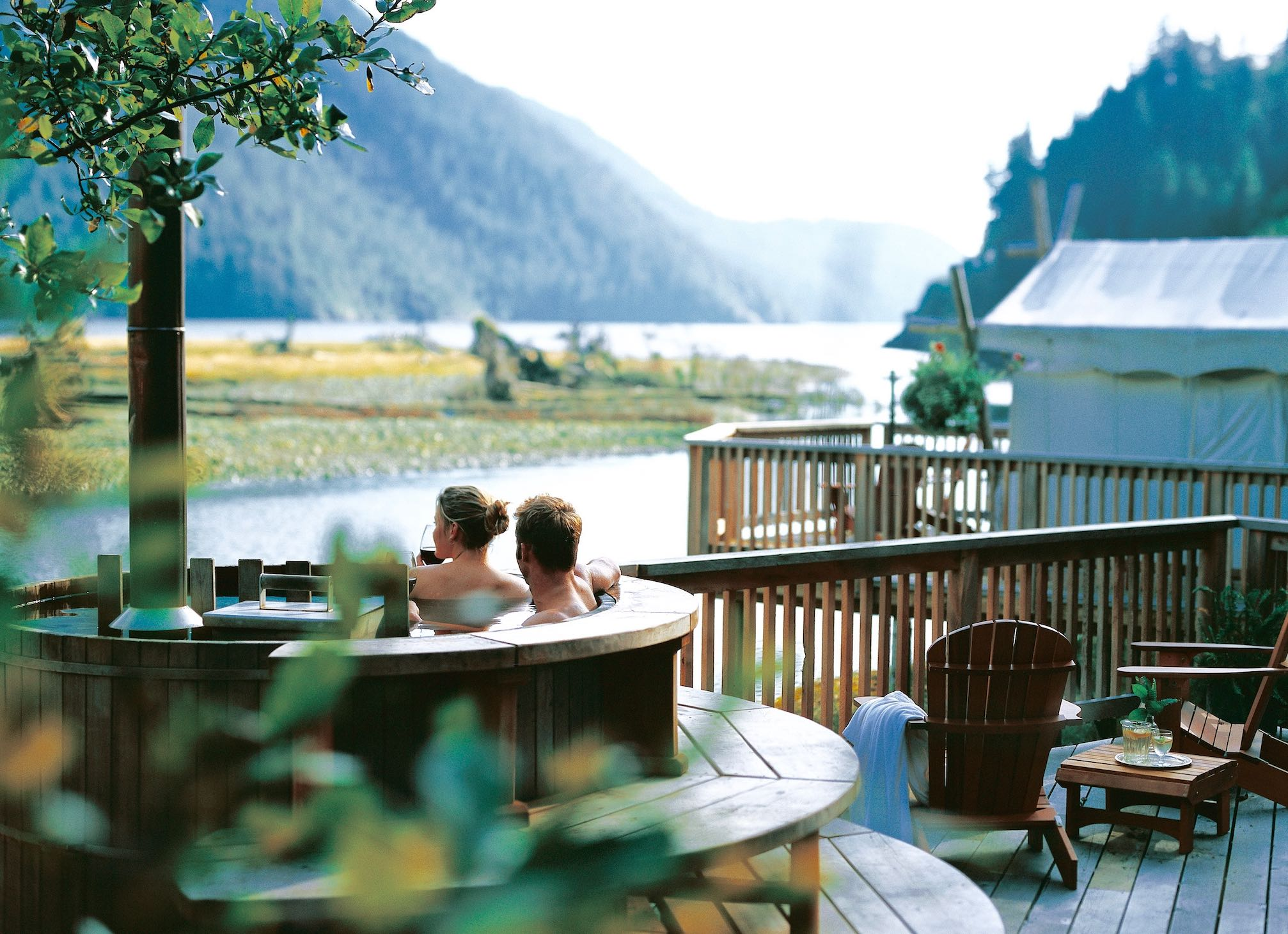 Clayoquot Wilderness Resort Couple in Wood-Fired Hot Tub