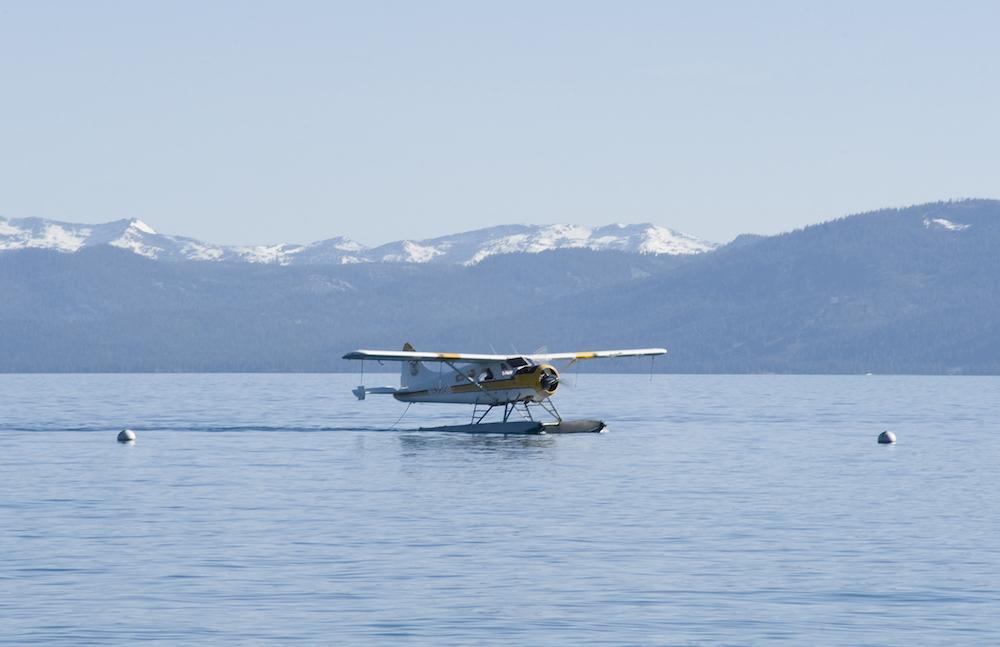 A Blackbird Air sea plane lands on Lake Tahoe