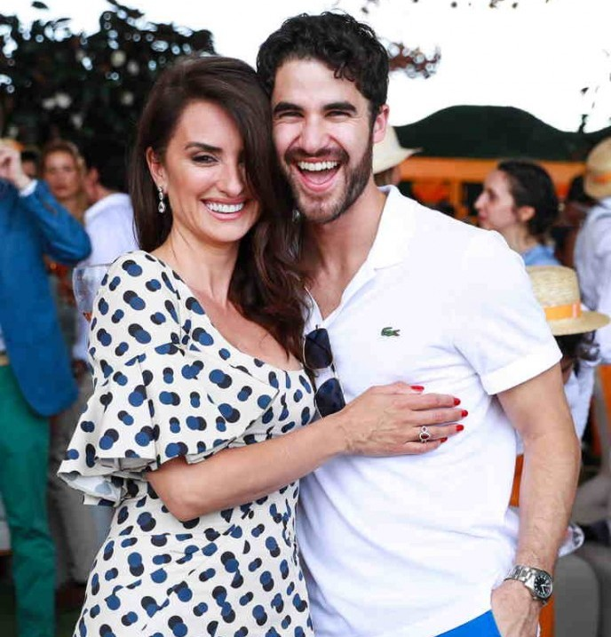 "Penelope Cruz and ""Versace"" co-star Darren Criss"