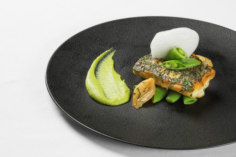 Black Bass with Spring Legumes