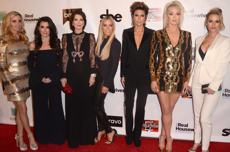 The Real Housewives of Beverly Hills Season 8 premiere party from left to right, Camille Grammer, Kyle Richards, Lisa Vanderpump, Mellencamp, Lisa RInna, Erika Girardi and Dorit Kemsley