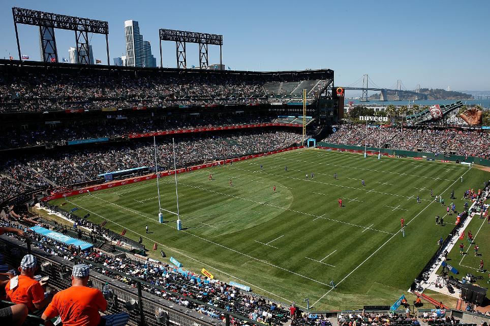 AT&T Park was transformed into a rugby field
