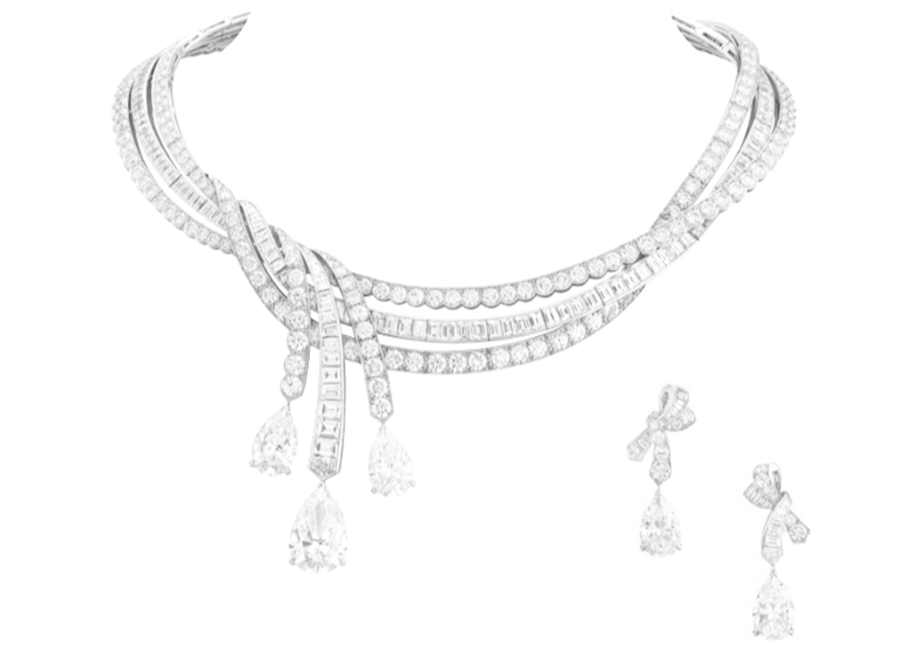 Rubans de princesse necklace and earrings - Rubans de princesse necklace and earrings 3 pear-shaped diamonds for a total of 22.87 carats (DFL type 2A), diamonds. Necklace with detachable pendants and earrings