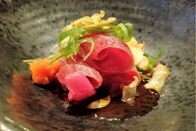 Maguro No Tataki (Sliced Seared Tuna with Chili Daikon and Ponzu Sauce).