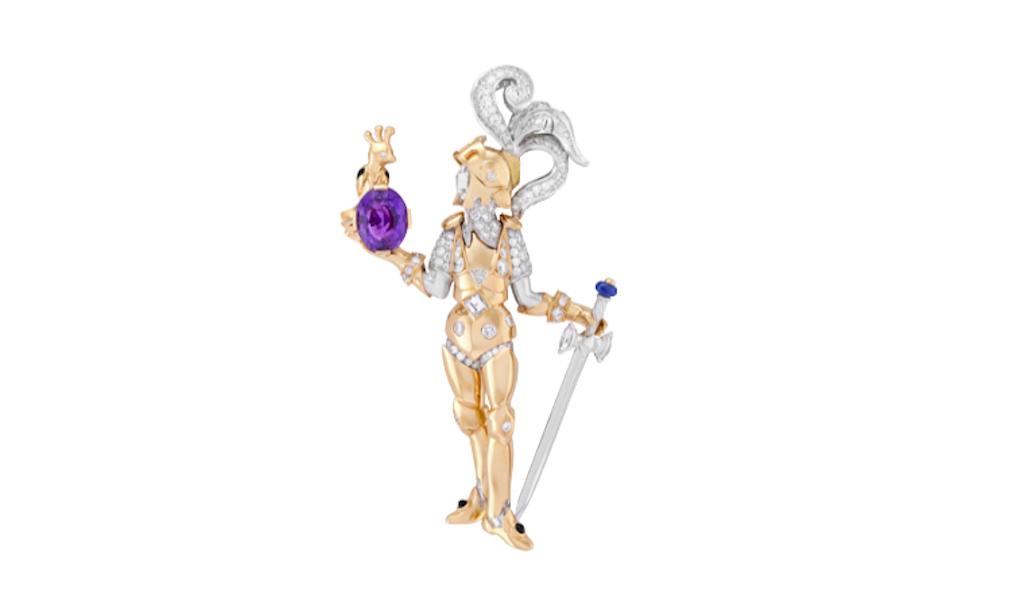 Le prince et l'oiseau - clip Oval-cut purple sapphire of 3.18 carats (Madagascar), blue sapphire, onyx, diamonds.