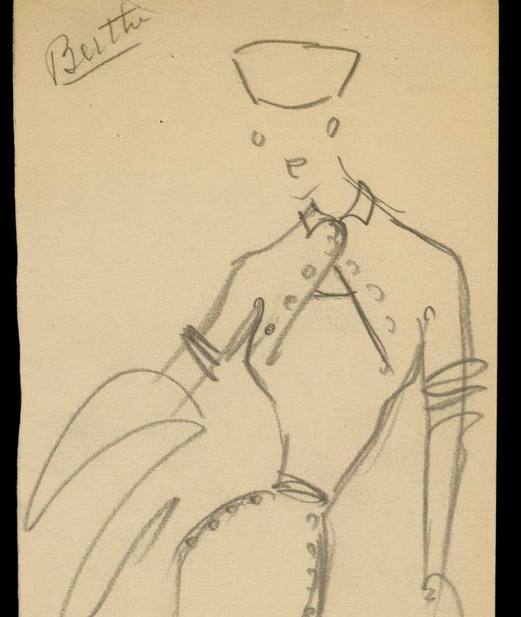 Sketch by Christian Dior for model Londres, Autumn-Winter 1950 Haute Couture collection