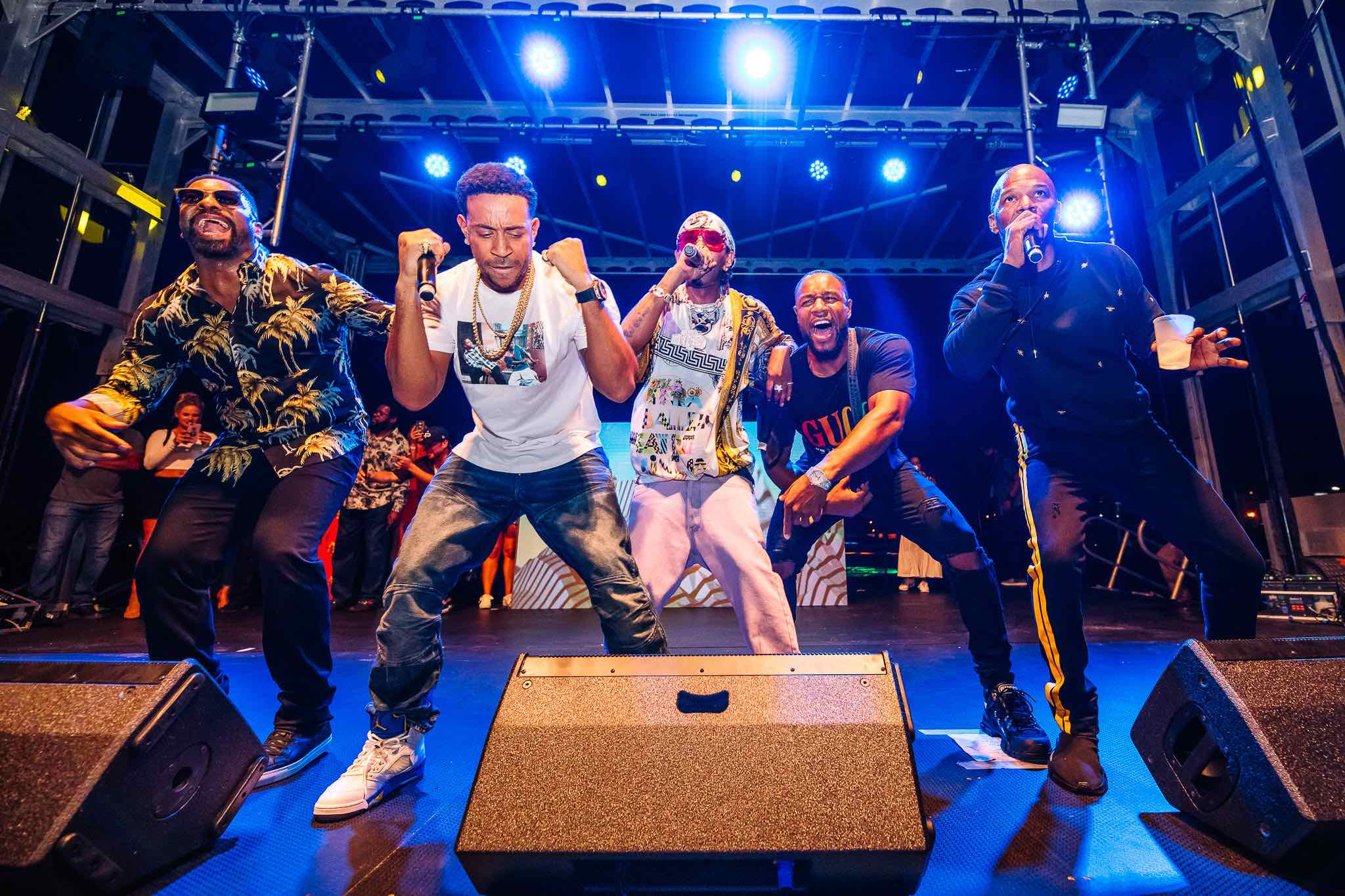 DJ Irie, Ludacris, Lil Sate, Tank and Jamie Foxx hit the stage during the Monster Electronics 14th Annual Irie Weekend Concert On The Green