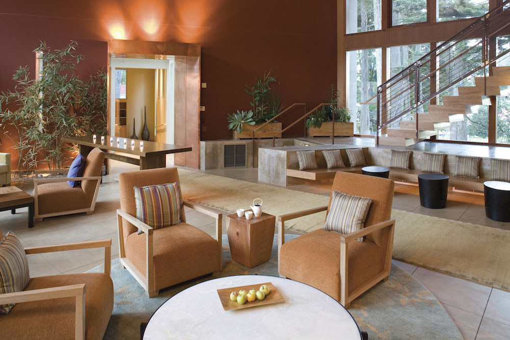 The spa's indoor relaxation lounge