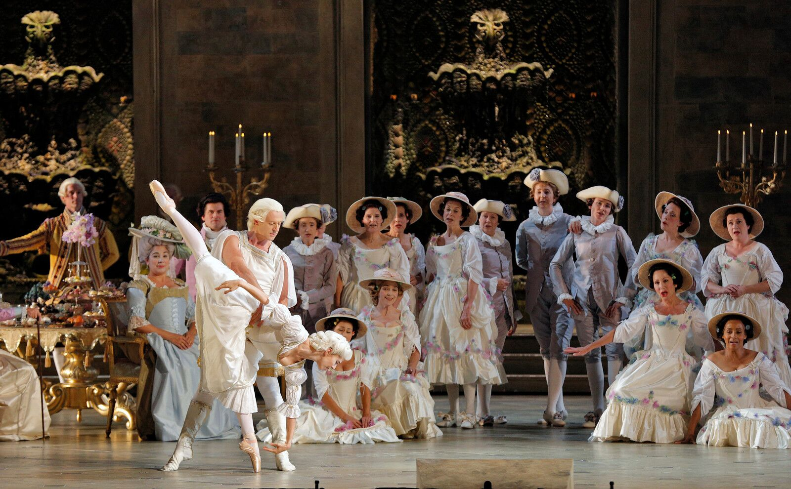 "A scene from Giordano's ""Andrea Chénier"" with dancers Michael Levine and Laura Alexich"