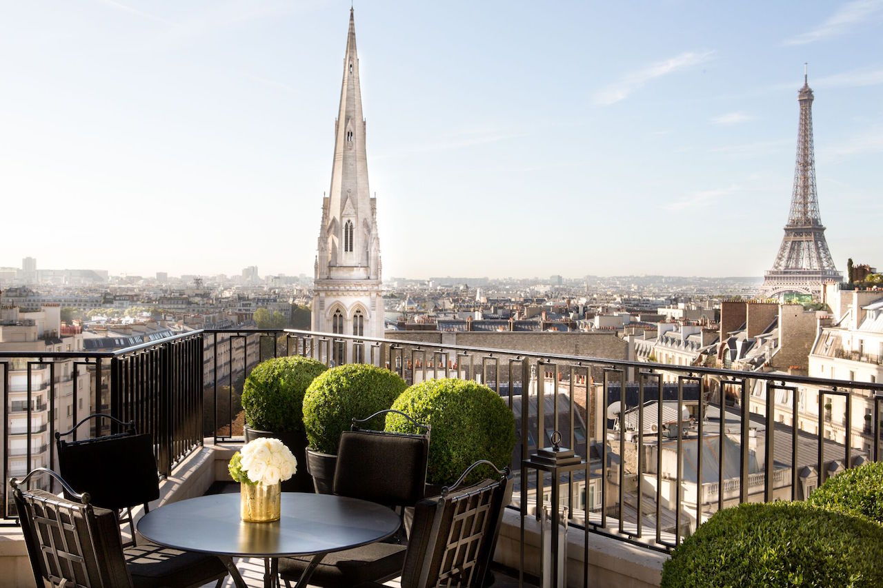 The view from the penthouse suite at the George V in Paris