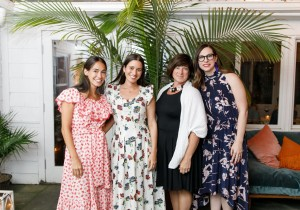Audrey Gelman, Lauren Kassan, Theresa Roden, and Amy Marino celebrate The Wing's Beach Bungalow at EMP Summer House