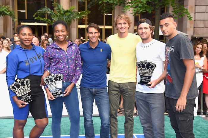 Serena Williams, Venus Williams, Rafael Nadal, Alexander Zverev, Mischa Zverev and Nick Kyrgios attend 2018 Lotte New York Palace Invitational on August 23, 2018 in New York City