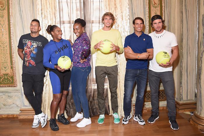 Nick Kyrgios, Serena Williams, Venus Williams, Alexander Zverev, Rafael Nadal and Mischa Zverev attend 2018 Lotte New York Palace Invitational on August 23, 2018 in New York City