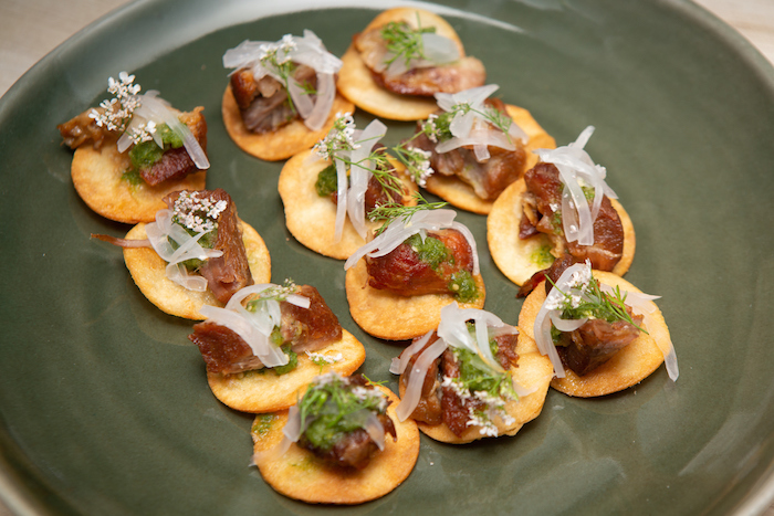 Carnitas Tostadas with Tomatillo Salsa at the kick-off event for the James Beard Foundation's Taste America's 10-city national event.