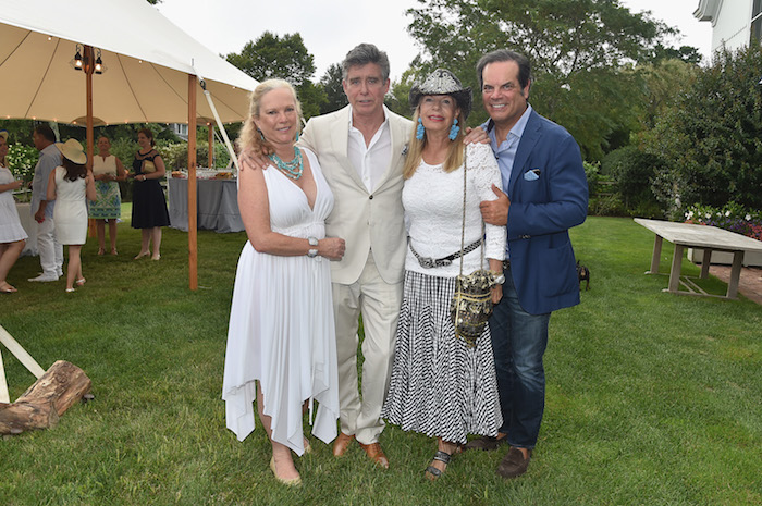 Jay McInerney, Anne Hearst McInerney, Yasmin Aga Khan, and Blaise Labriola attend the RitaHayworthGala Hamptons Kickoff Event hosted by Alzheimer's Associationat Private Residence on August 3, 2018 in Water Mill, New York.
