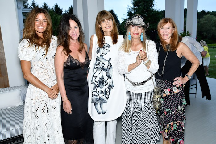 Kelly Bensimon, Jill Stewart, Anne Taylor, Princess Yasmin Aga Khan and Nicole Miller attend Alzheimer's Association Hosts Rita Hayworth Gala Hamptons Kickoff at a Private Residence on August 3, 2018 in Water Mill, New York.