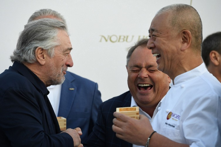 Robert De Niro & Chef Nobu Matsuhisa at the Nobu Hotel in Ibiza for the official Sake Ceremony