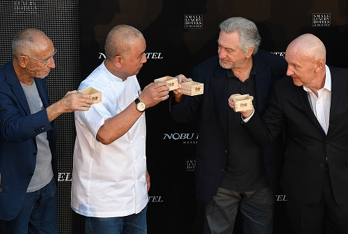 Robert De Niro, Chef Nobu Matsuhisa, Meir Teper & Trevor Horwell (CEO) at the Nobu Hotel in Marbella for the official 'Sake Ceremony' marking the official opening of the Nobu Hotel and restaurant in Marbella, Spain.