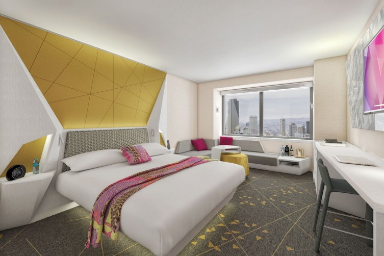 A rendering of the new guest rooms
