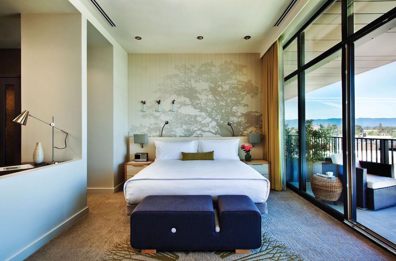 A guestroom at Nobu's hotel in Palo Alto