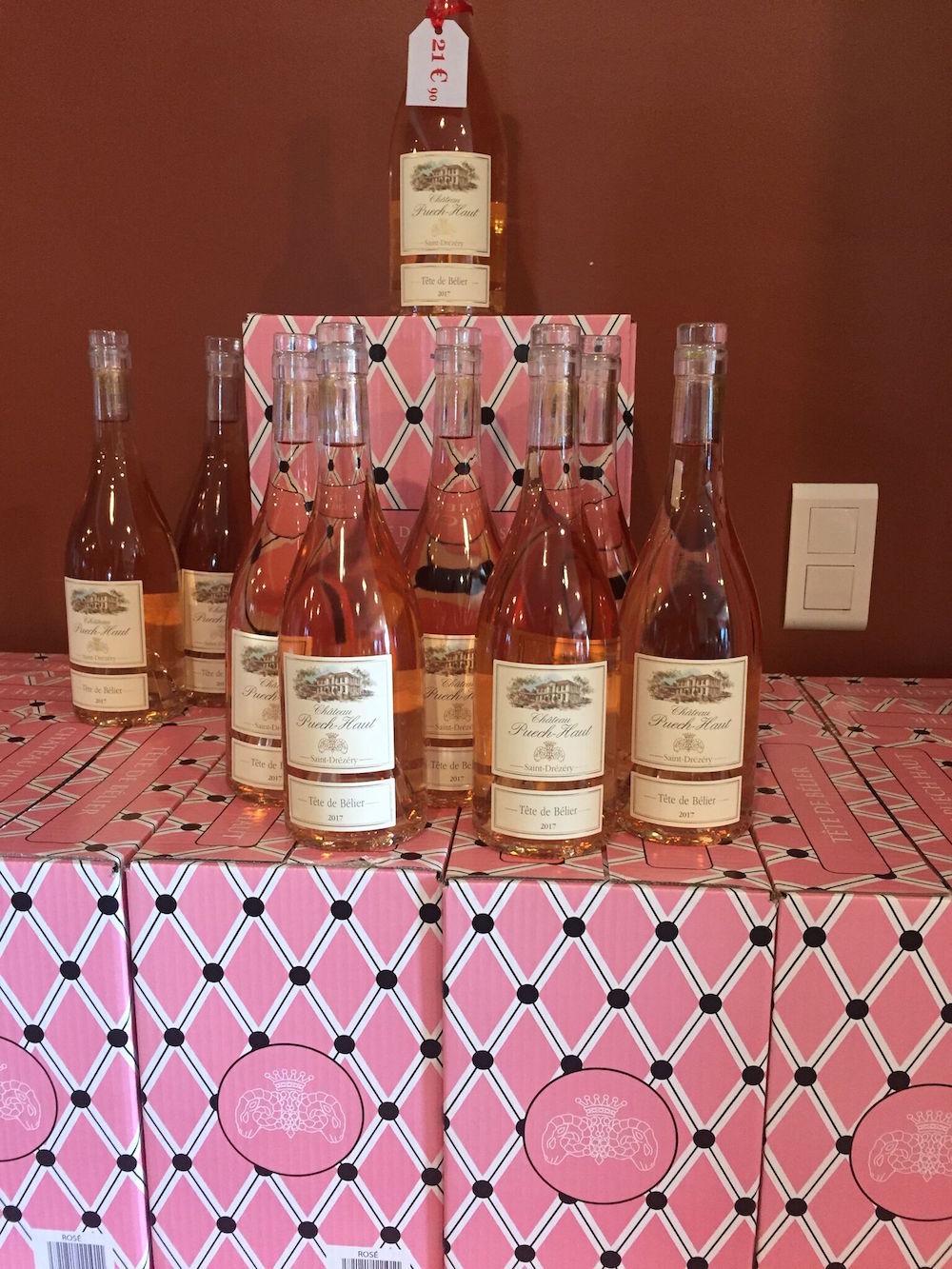 Rosé on display at Château Puech-Haut