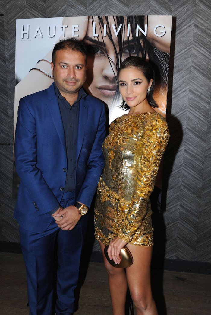 Kamal Hotchandani and Olivia Culpo attends the Haute Living and Real Is A Diamond celebration of Olivia Culpo's New York Cover during New York Fashion Week at Scarpetta, New York on September 6, 2018 in New York City.