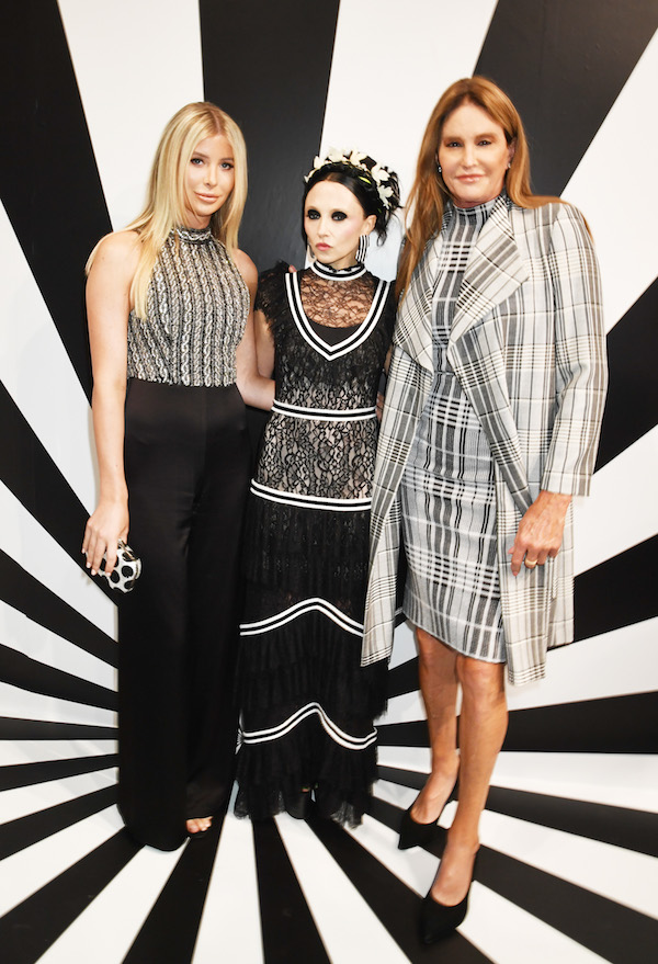 Sophia Hutchins, Stacey Bendet, and Caitlyn Jenner attend the alice + olivia SS19 Presentation Powered By Booking.com at Pier 59 Studios on September 11, 2018 in New York City.