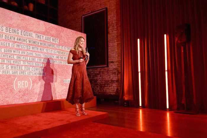 (RED) CEO Deborah Dugan speaks onstage as Montblanc And (RED) Launch The New (Montblanc M)RED Collection To Fight AIDS At New York's World Of McIntosh Townhouse.