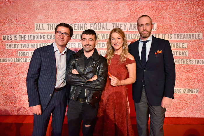 Sylvain Costof, David Paul Key, Deborah Dugan and Florent-Aymeric Dubiez attend as Montblanc And (RED) Launch The New (Montblanc M)RED Collection To Fight AIDS At New York's World Of McIntosh Townhouse.