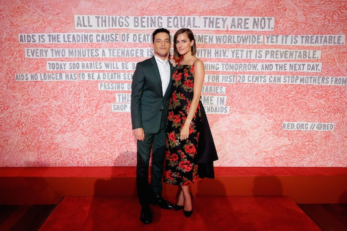Rami Malek and Allison Williams attend as Montblanc And (RED) Launch The New (Montblanc M)RED Collection To Fight AIDS At New York's World Of McIntosh Townhouse.