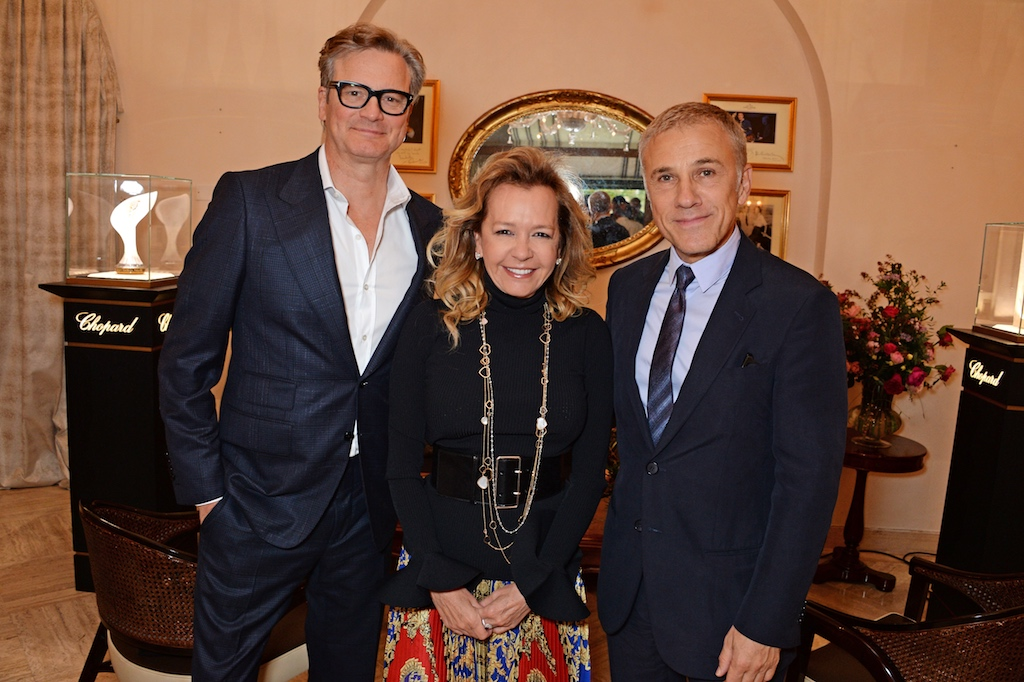 VENICE, ITALY - SEPTEMBER 01: (L to R) Colin Firth, Caroline Scheufele and Christoph Waltz attend a luncheon with Chopard to launch the Green Carpet Fashion Awards 2018 on September 1, 2018 in Venice, Italy. Pic Credit: Dave Benett