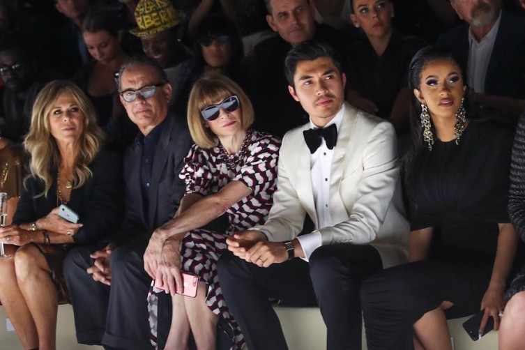 Rita Wilson, Tom Ford, Anna Wintour, Henry Golding and Cardi B sitting front row at Tom Ford SS19.
