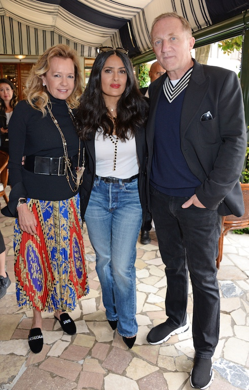 VENICE, ITALY - SEPTEMBER 01: (L to R) Caroline Scheufele, Salma Hayek and Francois-Henri Pinault attend a luncheon with Chopard to launch the Green Carpet Fashion Awards 2018 on September 1, 2018 in Venice, Italy. Pic Credit: Dave Benett