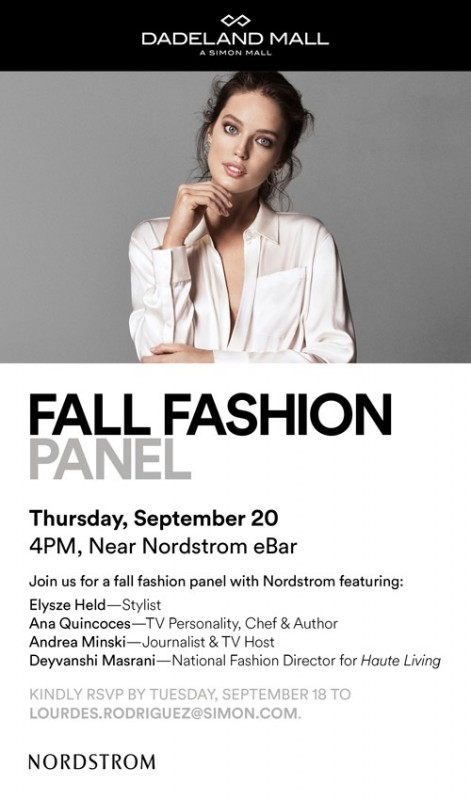 Nordstrom Dadeland Mall Fashion Panel invite