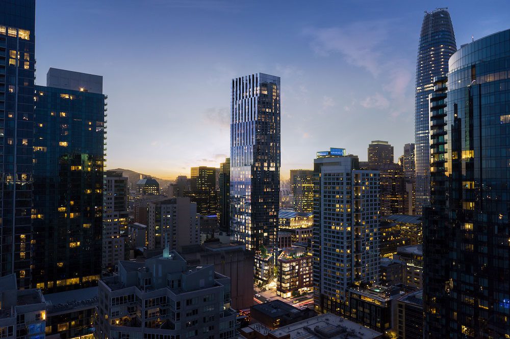 A rendering of the building and San Francisco's skyline