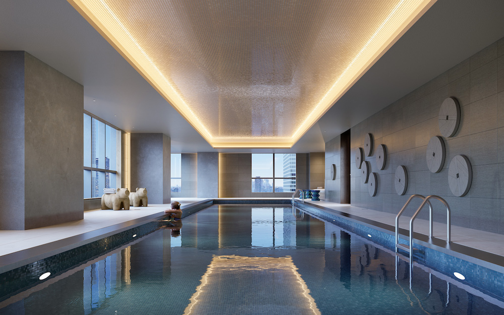 A rendering of The Avery's indoor lap pool