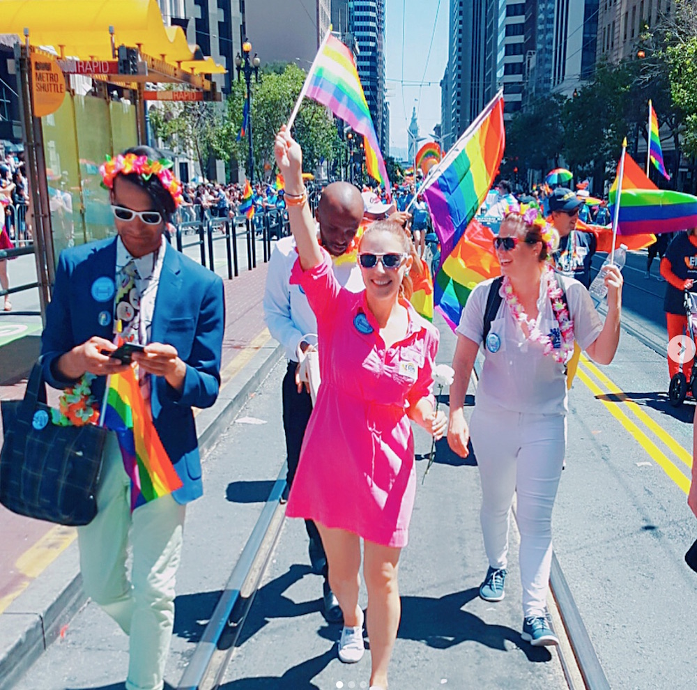 Walking in this year's Pride Parade