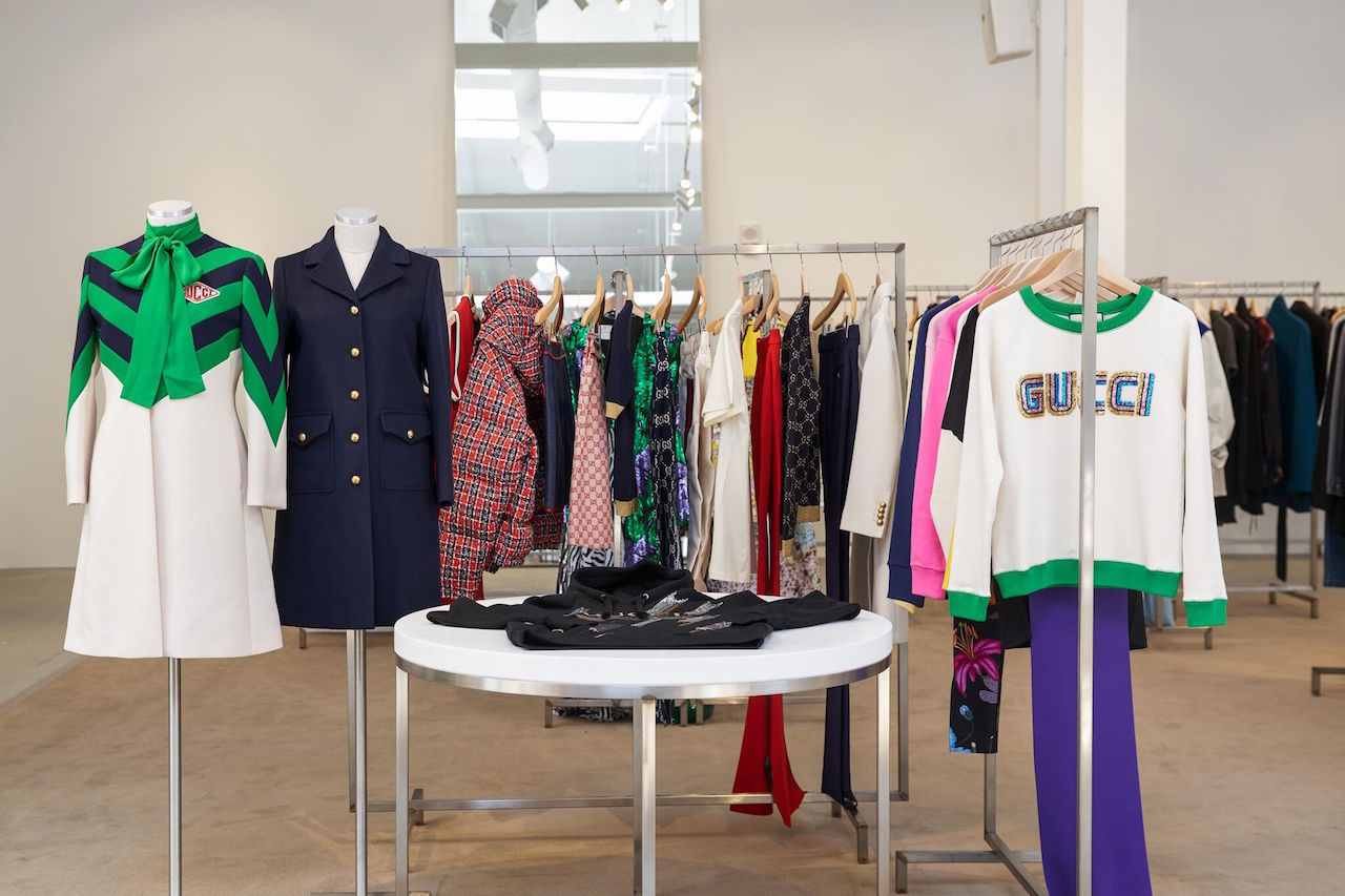 Gucci clothing on display at Jeffrey