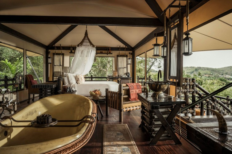 An opulent bedroom at the lodge