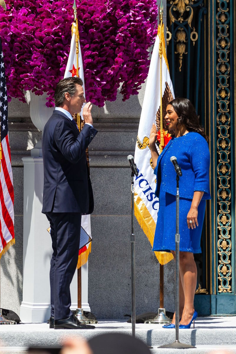 Lt. Governor Gavin Newsom swearing Breed in