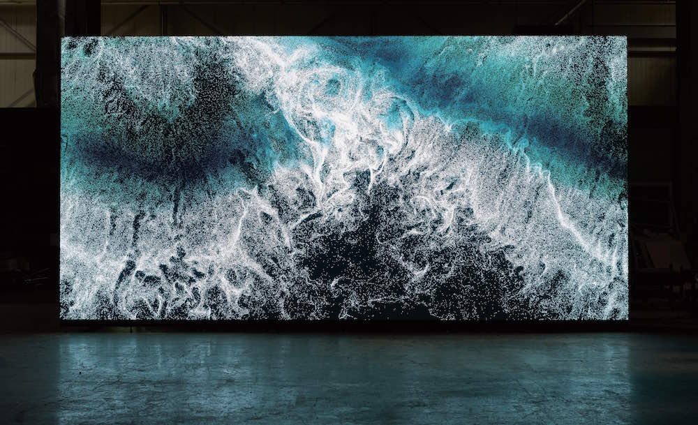 "Clifford Ross's ""Digital Wave 9"" displayed on LED wall"