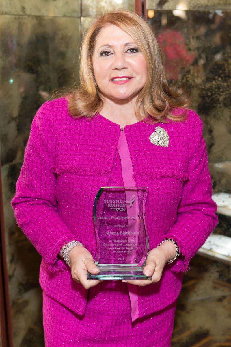 Athena Blackburn wth her Susan G. Komen Visionary Award