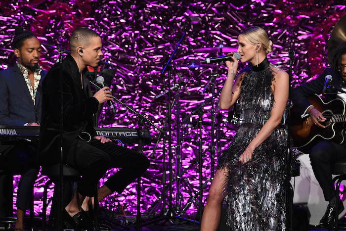 Evan Ross and Ashlee Simpson-Ross perform onstage at the 2018 Angel Ball hosted by Gabrielle's Angel Foundation at Cipriani Wall Street on October 22, 2018 in New York City.