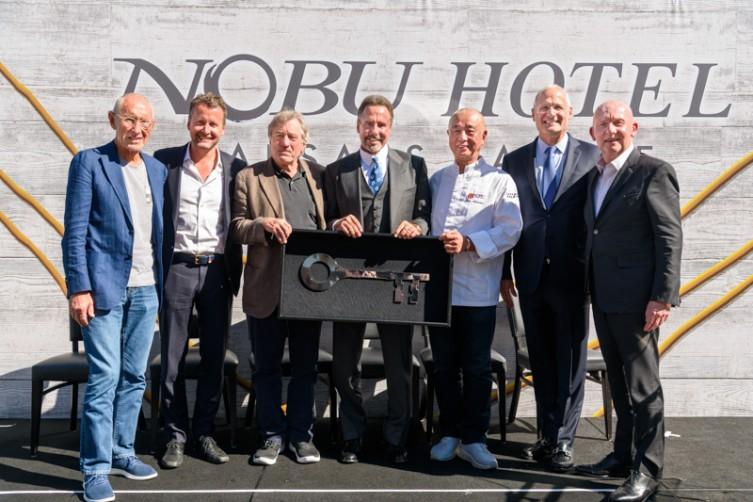 Meir Teper, Struan McKenzie, Robert De Niro, Mark Frissora Chef Nobu Matsuhisa, Gary Selesner and Trevor Horwell.