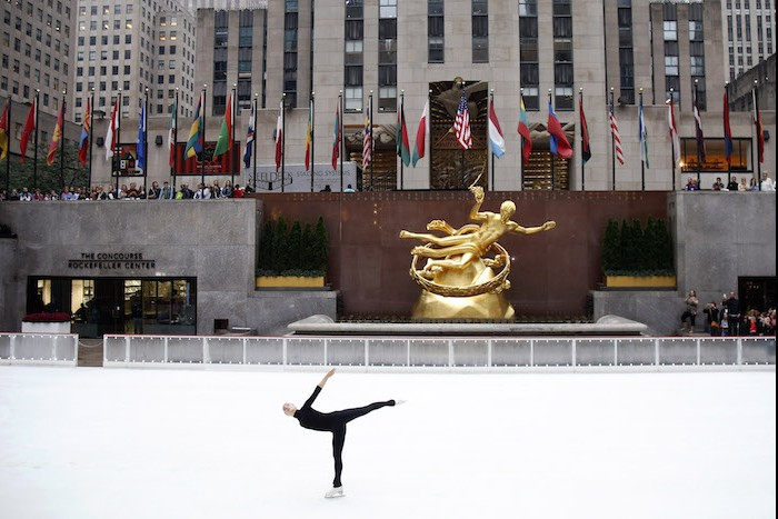 Five-time Finnish national champion figure skater Kiira Korpi hosts a ceremonial first skate marking the 82nd season opening of The Rink at Rockefeller Center