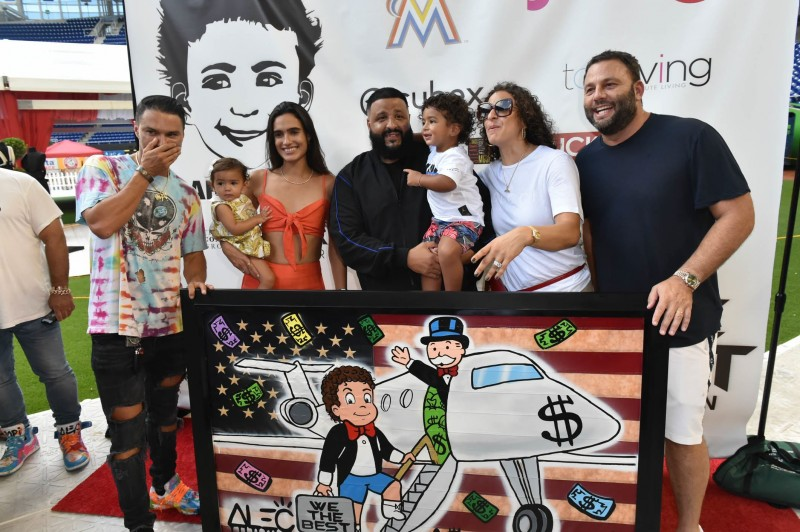 Alec Monopoly, Kaia Grutman, Isabela Rangel-Grutman, DJ Khaled, Asahd Khaled, Nicole Tuck and David Grutman