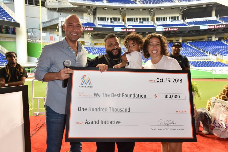 Derek Jeter with DJ Khaled, Asahd Khaled and Nicole Tuck