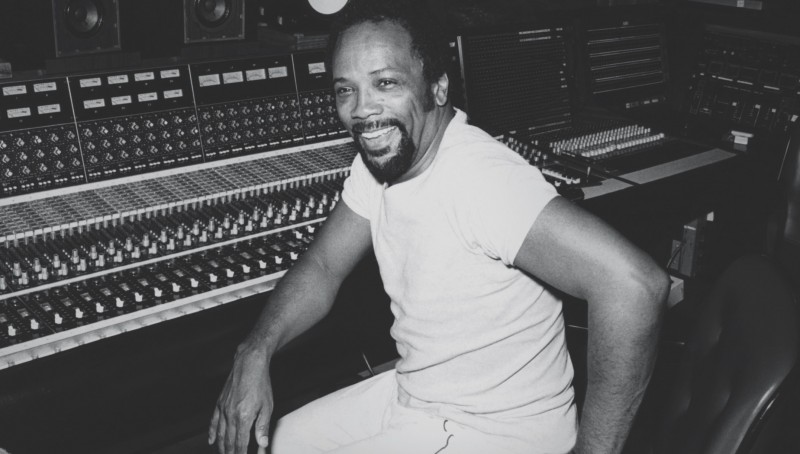 Quincy Jones recording in the studio