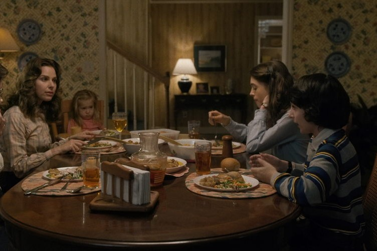 "With Finn Wolfhard and Natalia Dyer in ""Stranger Things"""